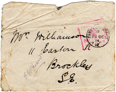 christmas truce envelope